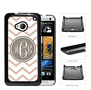 Coral And White Chevron With Tan Monogram (Custom Initials) Hard Plastic Snap On Cell Phone Case HTC One M7 by icecream design
