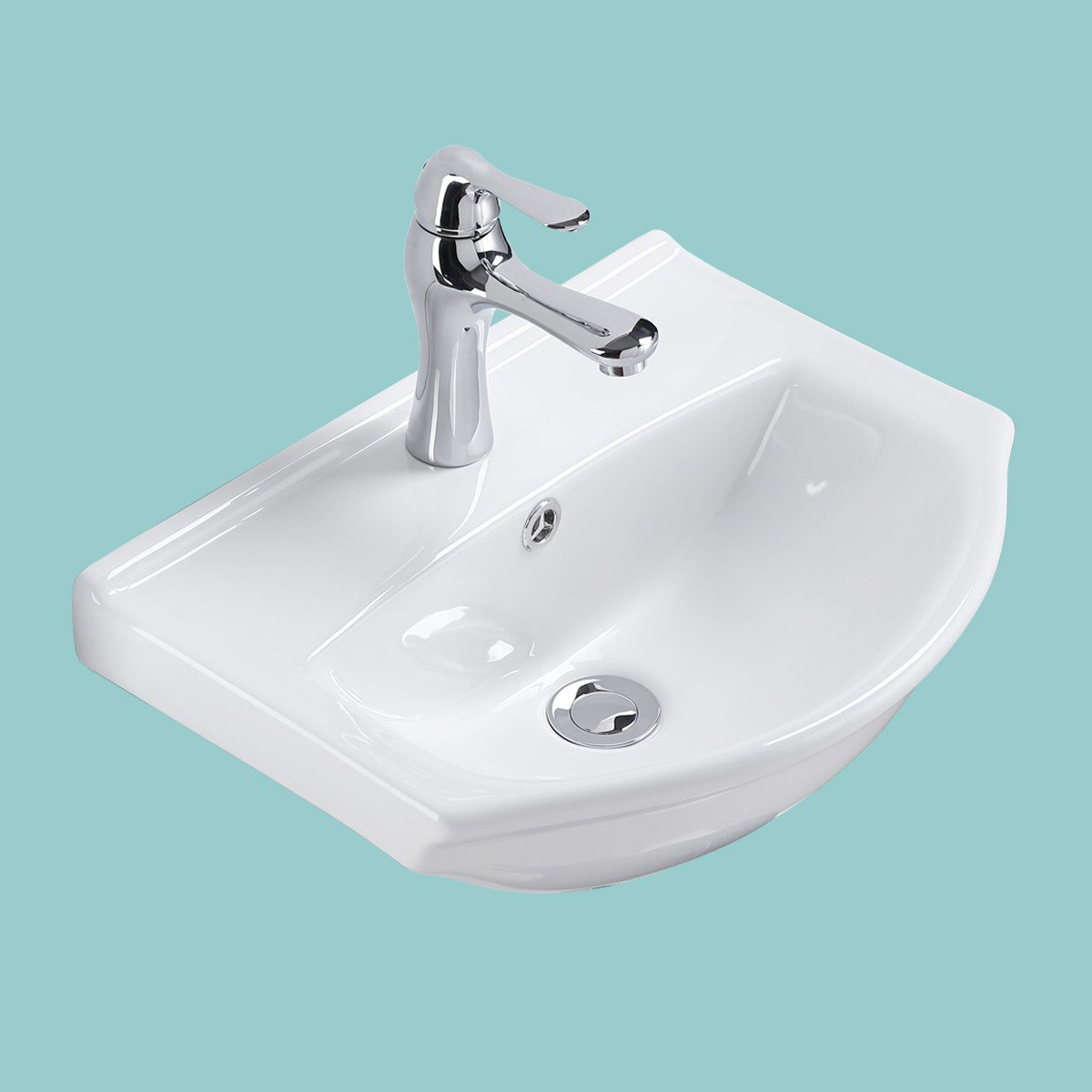Small Wall Mount Vessel Sink White Vitreous China Offset