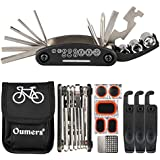 Oumers Multi-Function Bike Bicycle Cycling Mechanic Repair Kit with 3pc Tire Lever 5pc Tyre Patches/Tire Rasp Work Bag & 2-in-1 Universal Bicycle Chain Repair Tool - Chain Breaker and Chain Checker