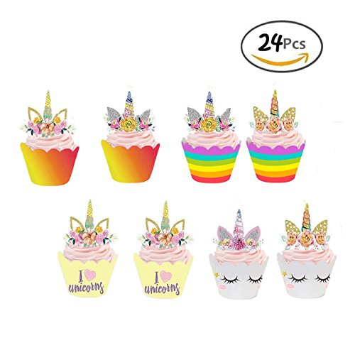Price comparison product image GEORLD Set of 24 Unicorn Cupcake Toppers and Wrappers Double Sided Kids Party Cake Decorations(2 styles)