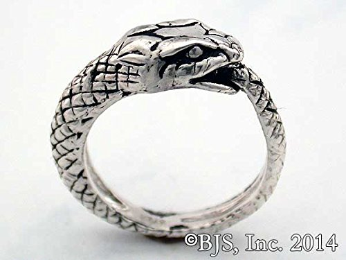 Snake Eating Its Tail (Wide Eyed Snake Eating Tail Ouroboros of Infinity Ring in Sterling Silver)