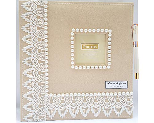 Towdah Perez Higher Volume Capacity XL Magnetic Page Wedding Album. 80 Pages, 4x6, 5x7, 8x10, 8x12 Photos, Gift Box Luxury White/Gold Pen. Fabric Pearls and White lace Wedding Album, personalizable - Perez Photograph