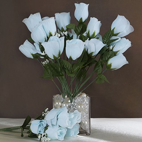 Efavormart 84 Artificial Buds Roses for DIY Wedding Bouquets Centerpieces Arrangements Party Home Decoration Supply - Light Blue