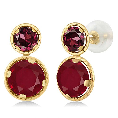 Gem Stone King 2.84 Ct Round Red Ruby Red Rhodolite Garnet 14K Yellow Gold Earrings
