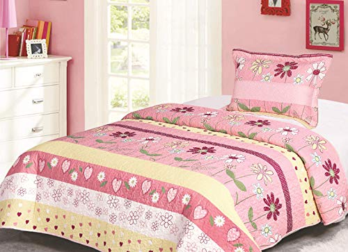 Golden Linens Twin Size Kids Bedspread Quilts Throw Blanket for Teens Girls Bed Printed Bedding Coverlet Floral Multi color Light Pink, Yellow, Hot Pink & Sage # Twin 16-02 (Bedding Quilts Childrens)