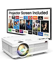 """QKK Mini Projector 6500Lumens [100"""" Outdoor Projector Screen Included] 1080P Supported, Compatible with HDMI, AV, USB for Home Theater, Outdoor Activities and More"""