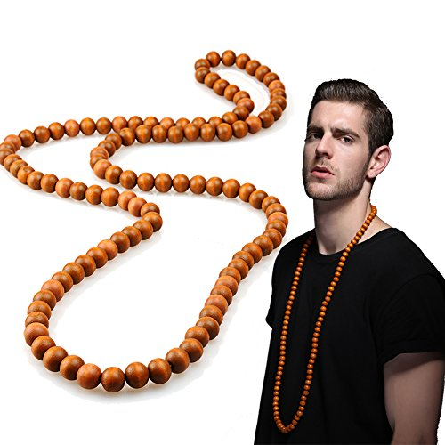 Indian Costumes Diy (EVBEA Long Beaded Necklace for Men Africa Wood Chain Bead Necklace, 23 inches)