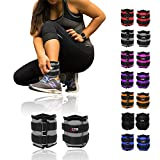 Xn8 Sports Ankle Weights Adjustable Strap Resistant 0.5kg 0.75kg 1kg 1.5kg 2kg 2.5 kg 3kg 4kg 5kg Leg Wrist Running Cross Fitness Gym Training Exercise (Black, 5Kg Pair = (5 x 2 = 10Kg))