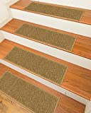 Ottomanson Affordable Light Beige Set of 7 Skid-Resistant Rubber Backing Non-Slip Carpet Machine Washable (8.5'' X 26.5'') Stair Tread, 8.5'' X 26''