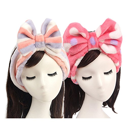 Lovely Headband, Makeup Headbands, 2 Pieces Flannel Bowknot Mask Hairband Wash Face Towel Hair Band for Hair Accessories (Purple Stripes+Red - Face Heartshaped