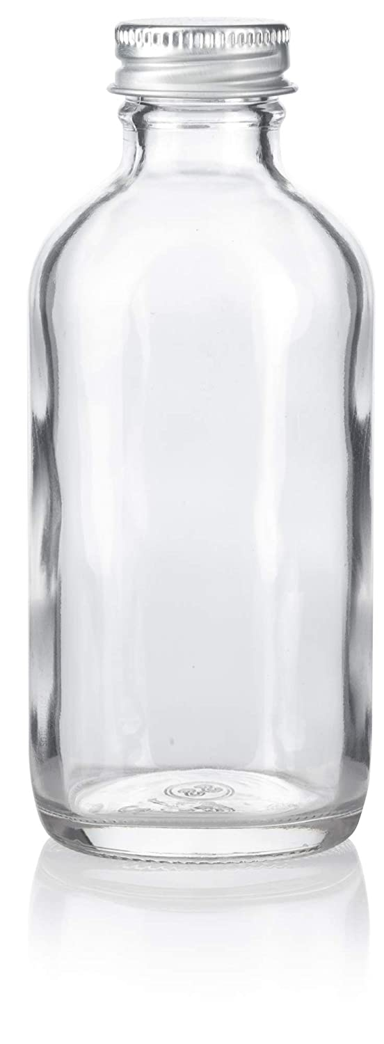 Funnel and Labels 6 Pack 4 oz Clear Glass Boston Round Bottles with Silver Metal Screw On Caps