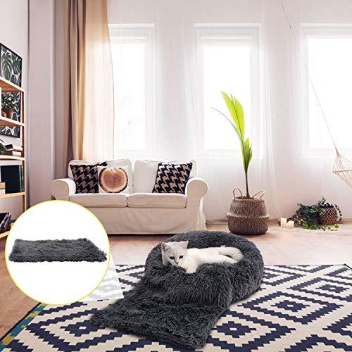 Legendog Lit pour chat, 2PC en peluche Donut gris chaud lit de chat rond nid chaud nid de chat doux + couverture souple gris