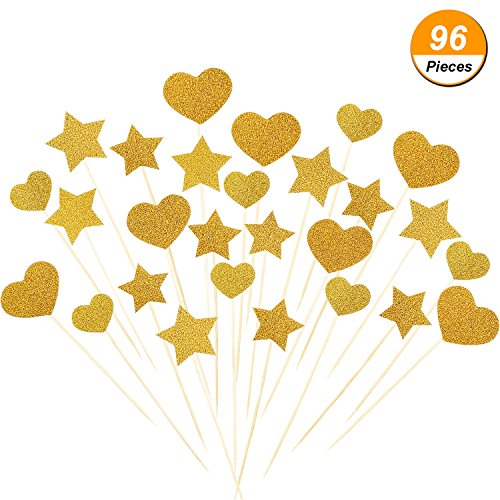 TecUnite 96 Pieces Star and Heart Shape Cupcake Toppers Glitter Gold Cake Topper for Wedding and Birthday Party Decorations (Gold Heart Cake)