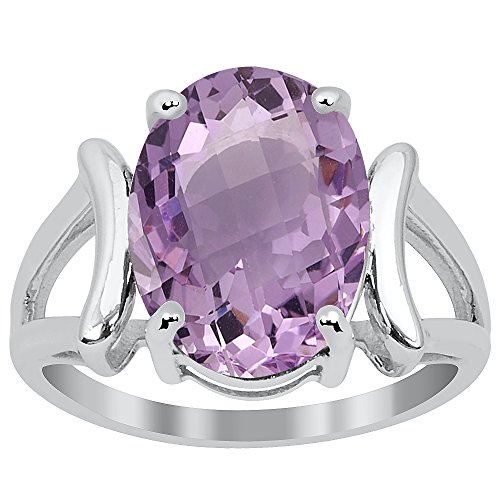 Orchid Jewelry Solid 925 Sterling Silver Pink Amethyst Women's Handmade Ring (14X10MM Checkerboard ()