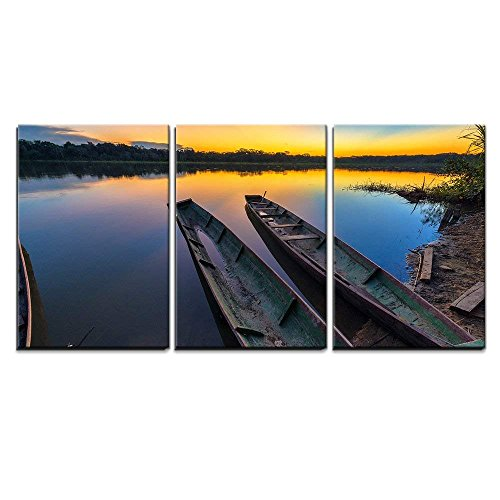 Dramatic Sunset in the Amazon Rain Forest in Bolivia in Madidi National Park x3 Panels