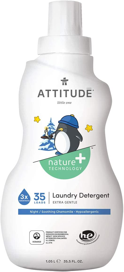 ATTITUDE Baby Laundry Detergent, Hypoallergenic, Dye-Free, HE & Standard, Soothing Chamomile, 35.5 Fluid Ounce, 35 Loads