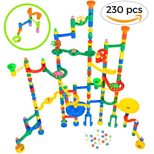 Magicjourney Giant Marble Run Toy Track Super Set Game 230 Piece Marble Maze Building Sets W  200 Colorful Marble Tracks  30 Marbles   4 Challenge Levels For Stem Learning  Endless Educational Fun