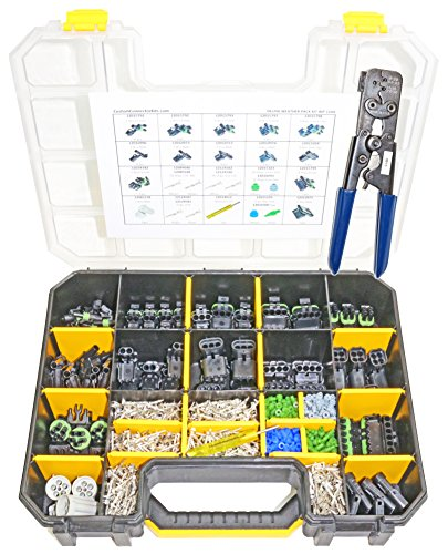 Delphi Weather Pack Connector Kit WP-1104 With Pro Tool: Sealed Weatherproof Automotive Electrical Connectors 20-12 Gauge 1104 Piece Kit With 12014254 Pro Crimp Tool
