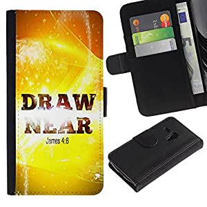 LASTONE PHONE CASE / Lujo Billetera de Cuero Caso del tirón Titular de la tarjeta Flip Carcasa Funda para Samsung Galaxy S3 MINI NOT REGULAR! I8190 I8190N / BIBLE James 4:8 Draw Near