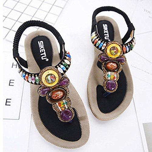 Bohemia Negro Calzado Playa Sandalia correa Sandalias Rhinestone T Planas La Zapatos Mujer Adorno De gOqOnrxY