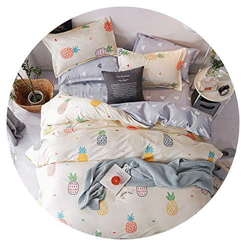 Heart Pattern Bedding Set Cute Bed Linen Set Home Textile Pink Girl Heart Bedding Set 4pcs Queen Full King Size,Style - Dawn Style House Rose