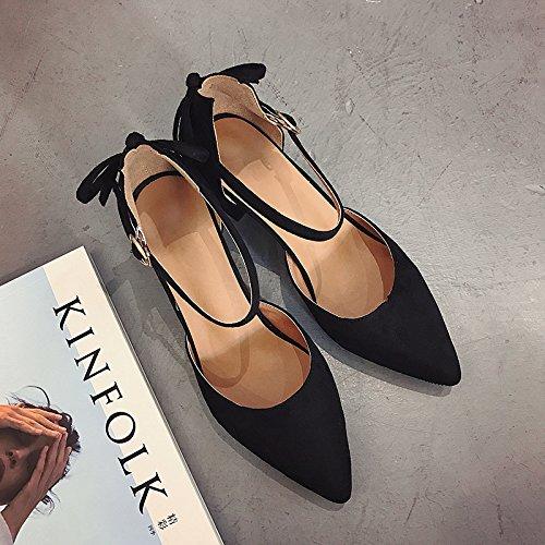Bow Tie In mit einzelnen Schuhe Schuhe wies High-Heeled Schuhe Schuhe Frauen Sandalen geschlitzten Befestigungen, Wilde Frauen Schuhe, Schwarz, 39 - 9f7be9