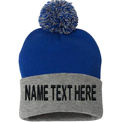 Custom Embroidery Beanie Personalized Text Ski Knit Pom Cuffed Hat - Blue Heather Grey