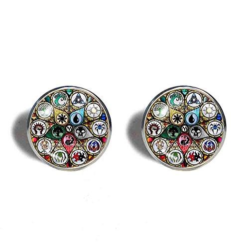 Art Glass Cufflinks - Handmade Fashion Jewelry Mana Art Magic the Gathering Cufflinks Cuff links Cosplay MTG Charm Gift