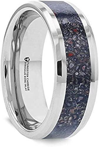 Thorsten Silurian Brown Earthtones Dinosaur Bone Inlay on Black Ceramic Wedding Band Beveled Edged Ring 4mm from Roy Rose Jewelry