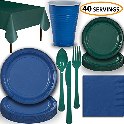 Disposable Party Supplies, Serves 40 - Blue and Hunter Green - Large and Small Paper Plates, 12 oz Plastic Cups, Heavyweight Cutlery, Napkins, and Tablecloths. Full Two-Tone Tableware Set