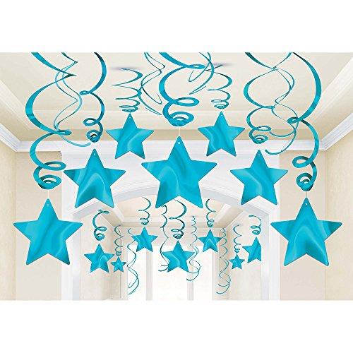 Amscan 674474.54 Hanging Swirls Shooting Stars Caribbean Blue Party Supplies,