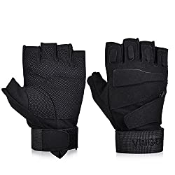 Vbiger Tactical Gloves Military Gloves Shooting Gloves Fingerless Half-finger Riding Hunting Cycling Gloves (Black, M)
