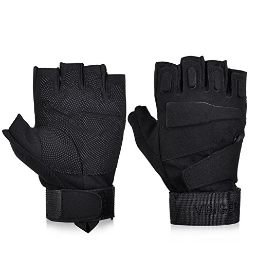 Vbiger Tactical Gloves Military Gloves Shooting Gloves Fingerless Half-finger Riding Hunting Cycling Gloves (Black, S)