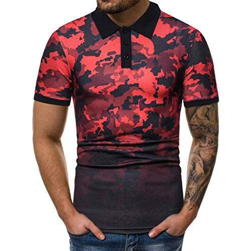 RAINED-Men's Camo Shirt Casual Short Sleeve T Shirt Slim Fit Henley Shirts Crewneck Basic Designed Baseball Tee for Men