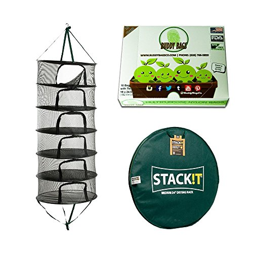 10 Pack Buddy Bags Co Turkey Oven Bags & Stack!t Drying Rack w/ Zipper, 2ft