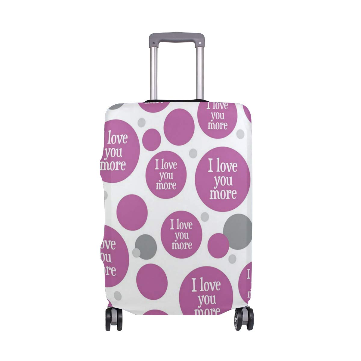 Travel Luggage Cover DIY Prints Protector Suitcase Baggage Fit 18-32 inch - I Love You More Purple