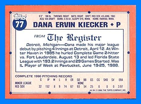 1991 Topps Debut '90 #77 Dana Kiecker BOSTON RED SOX at