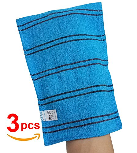 SongWol Korean Beauty Skin X-Large Viscos Exfoliating Bath Towel Gloves Strong Scrub Wash Clothes (3 pack)