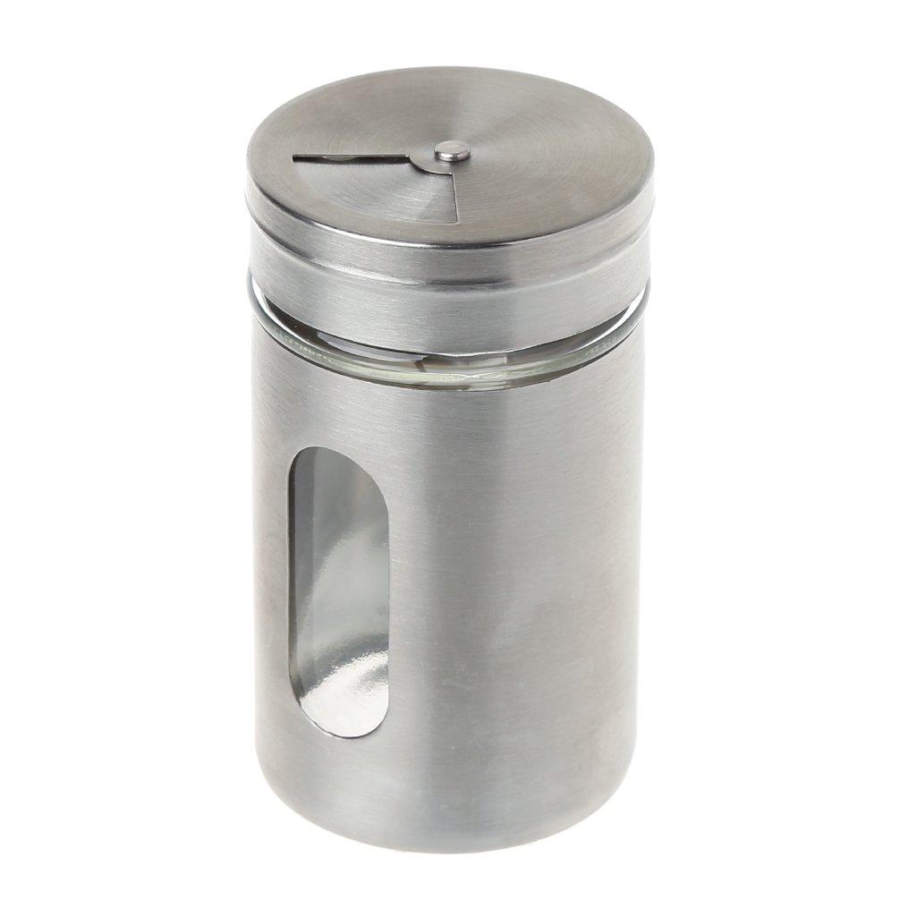 Tebatu Stainless Steel Seasoning Condiment Jar Spice Glass Seal Pepper Shaker Bottle