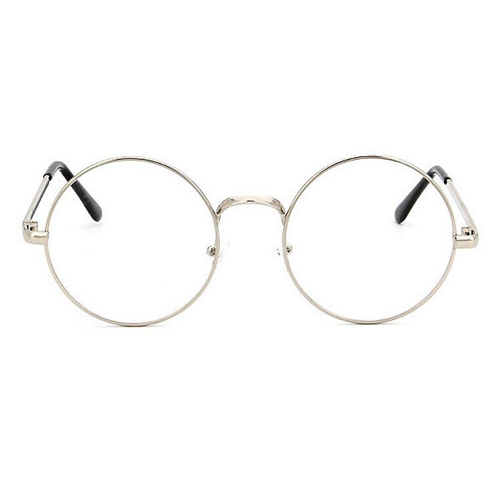 00dd6bb7987432 TININNA Unisexe Rétro Rondes Metalique Cadre Frame Lunettes Vintage Verres Transparent  Style Aviateur Pilote Eyeglasses pour Homme et Femme Adultes - Argent ...