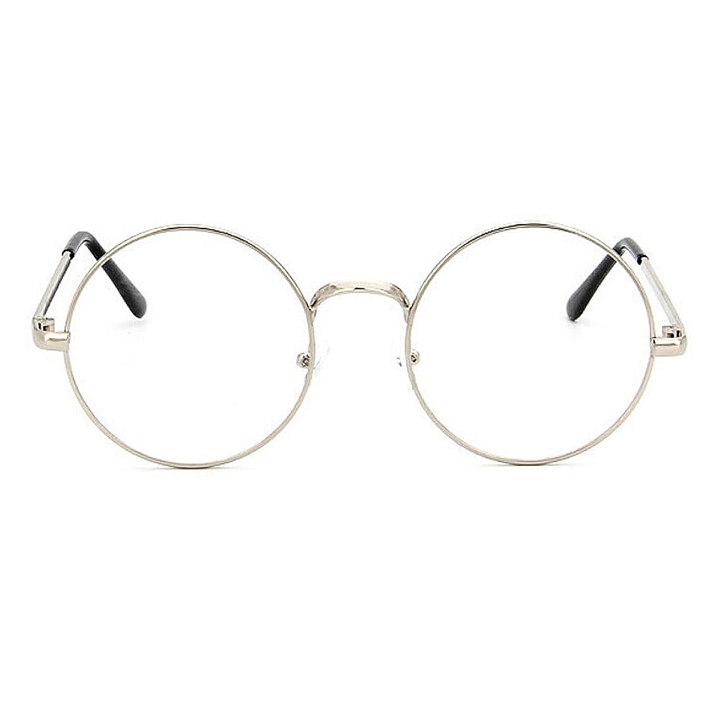 TININNA Unisexe Rétro Rondes Metalique Cadre Frame Lunettes Vintage Verres Transparent Style Aviateur Pilote Eyeglasses pour Homme et Femme Adultes - Or Clair - Taille unique PilIJh0
