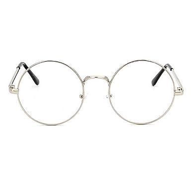 TININNA Unisexe Rétro Rondes Metalique Cadre Frame Lunettes Vintage Verres Transparent Style Aviateur Pilote Eyeglasses pour Homme et Femme Adultes - Argent - Taille unique Vw61PEH