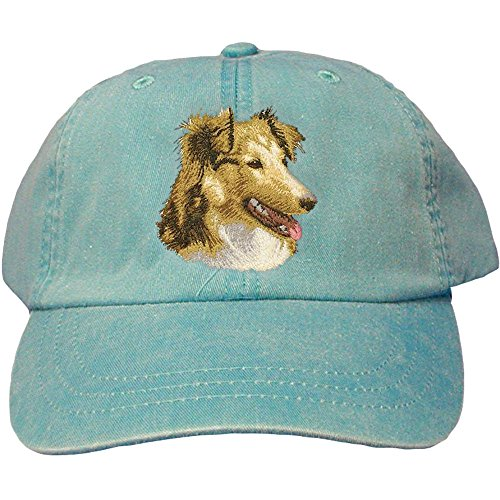 (Cherrybrook Dog Breed Embroidered Adams Cotton Twill Caps - Caribbean Blue - Shetland Sheepdog)