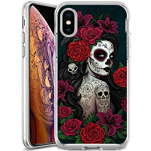 Christy Mathisop Series Sugar Skull Butterfly Rose Flower Pattern iPhone Xs Max Phone Case ,Clear Scratch-Resistant Shock Absorption Flexible Protective CoveriPhone Xs Max case Tattoo Girl
