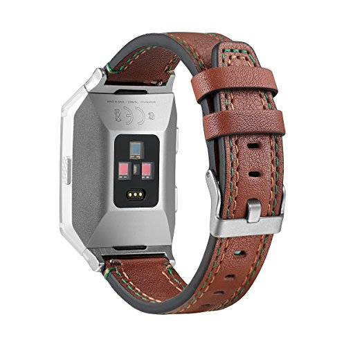 bayite Leather Bands for Fitbit Ionic Genuine Leather Replacement Accessories Straps for Fitbit Ionic Smart Fitness Watch Women Men Coffee Brown
