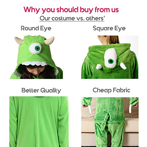 Es Unico Mike Wazowski Onesie Pajama Costume for Adults and Teenagers X-Large by Es Unico (Image #3)