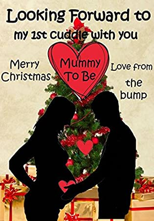 Christmas tree Love From From Bump Mummy TO BE  pidtree Xmas crimbo Card A5