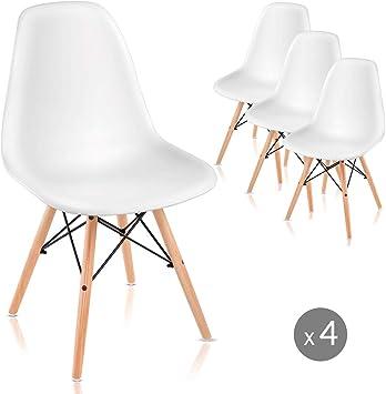 Mc Haus SAONA - Pack 4 Sillas Blancas diseño Nórdico, Asiento ...