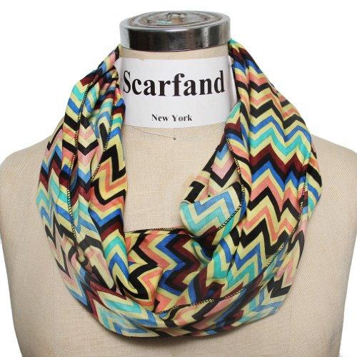Scarfand's Multi-color Chevron Print Infinity Scarf (Vivid Navy)