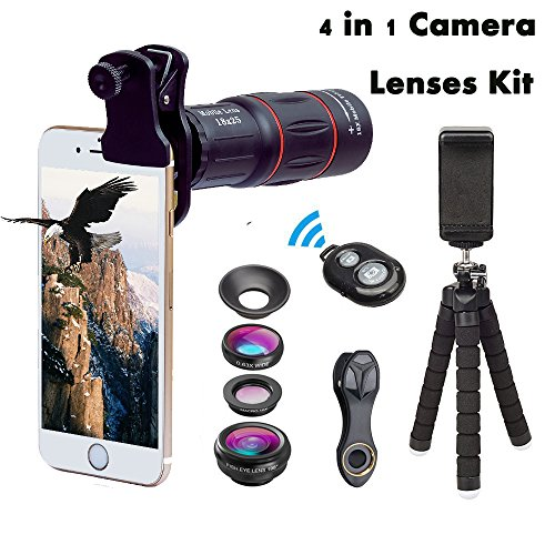 Cell Phone Camera 4 in 1 Lens Kits 18X Monocular Telephoto Lens,Fisheye,Macro,Wide Angle Lens,Flexible Tripod + Clip + Remote Shutter + Phone Photography Kit for iPhone X/8 7 Plus 6 Android Smartphone - 4in Phone